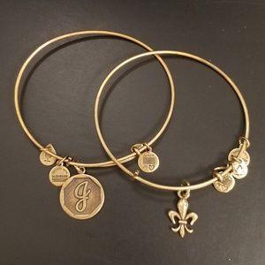 Alex and Ani fleur-de-lis & J initial bracelet